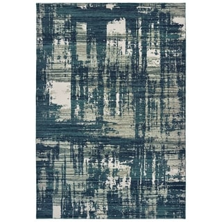 Strick & Bolton Cifra Abstract Blue/ Grey Area Rug - 6'7 x 9'6