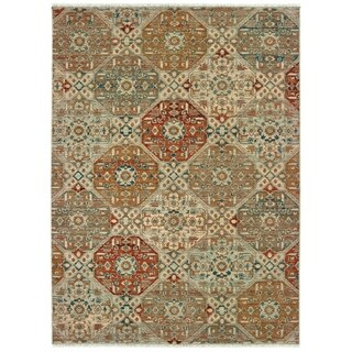 "Floral Panel Lattice Sand/ Rust Spaced Dyed Wool Area Rug - 5'3"" x 7'6"""