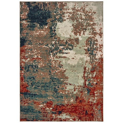 Strick & Bolton Robin Abstract Blue/ Rust Rug - 2' x 3'