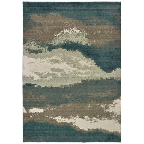 Strick & Bolton Moody Abstract Blue/ Ivory Rug - 2' x 3'