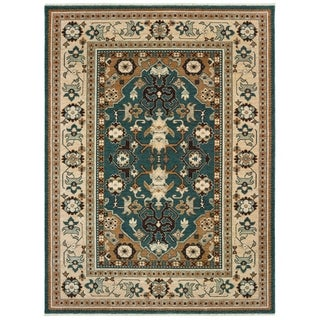 "Tribal Bordered Teal/ Sand Spaced Dyed Wool Area Rug - 6'7"" x 9'6"""