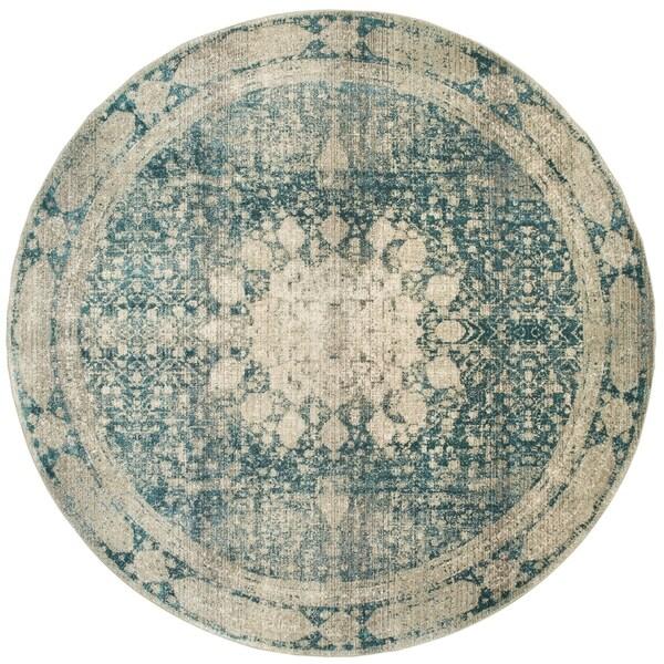 Shop Distressed Medallion Ivory Blue Runner Rug 7 10