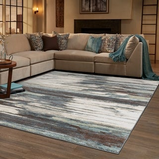 "Organic Layers Blue/ Ivory Area Rug - 5'3"" x 7'3"""