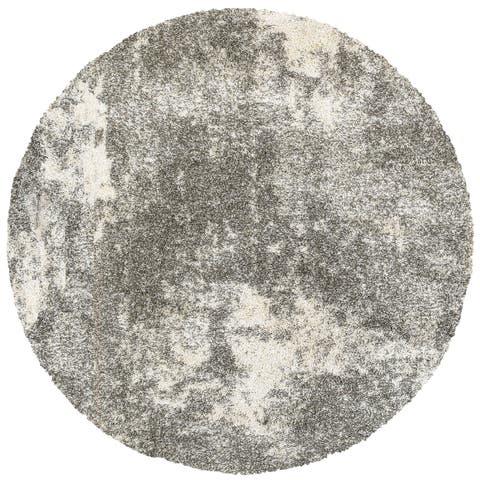"Cedar Granite Light Grey/ Ivory Shag Rug - 7'10"" Round"