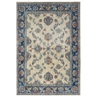 """Bordered Traditional Ivory/ Blue Area Rug - 5'3"""" x 7'6"""""""