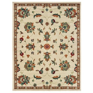 """Floral Traditional Ivory/ Tangerine Area Rug - 5'3"""" x 7'"""