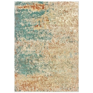 "Organic Abstract Blue/ Orange Area Rug - 5'3"" x 7'3"""