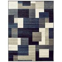 "Geometric Block Blue/ Ivory Area Rug - 5'3"" x 7'"