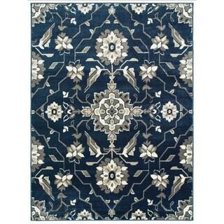"""Borderless Floral Medallion Blue/ Grey Area Rug - 7'10"""" x 10'"""