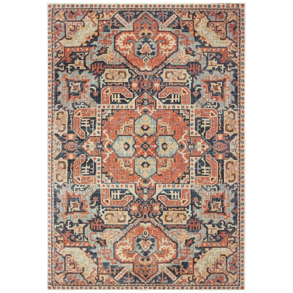 """The Curated Nomad Regent Distressed Tribal Blue/ Orange Area Rug - 6'7"""" x 9'6"""""""