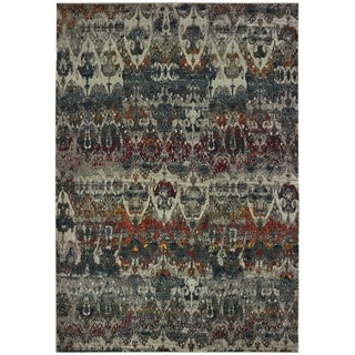 "Antiqued Tribal Grey/ Blue Area Rug - 5'3"" x 7'6"""