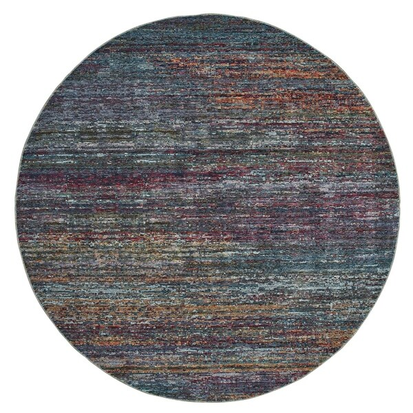 "Textural Stripes Multicolored Area Rug - 7'10"" Round"
