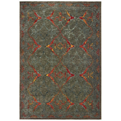 """Distressed Tribal Grey/ Red Area Rug - 5'3"""" x 7'6"""""""