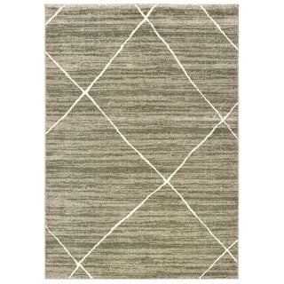"""The Curated Nomad Brush Distressed Geometric Grey/ Ivory Area Rug - 5'3"""" x 7'3"""""""