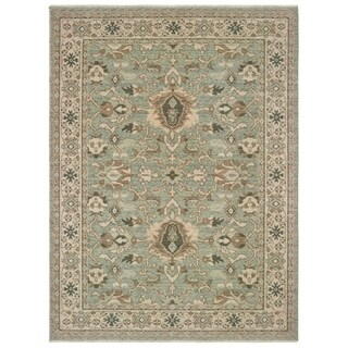 Blue/Brown Wool Space-dyed Distressed Traditional Bordered Area Rug - 6'7 x 9'6