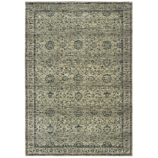 "Copper Grove Krizevci Distressed Floral Grey and Blue Area Rug - 6'7 x 9'6 - 6'7"" x 9'6"""