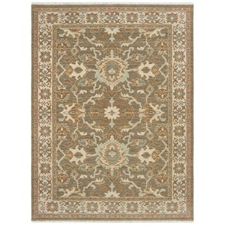 Brown/Ivory Wool Spaced-dyed Distressed Traditional Bordered Area Rug - 6'7 x 9'6