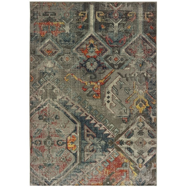 "Tribal Patchwork Grey/ Multi Area Rug - 5'3"" x 7'6"""