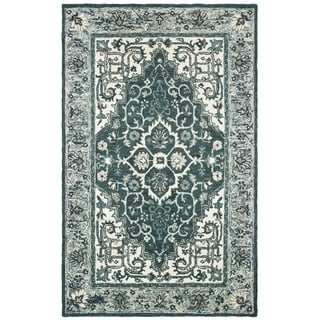Traditional Medallion Hand-tufted Wool Grey/ Blue Area Rug - 10' x 13'
