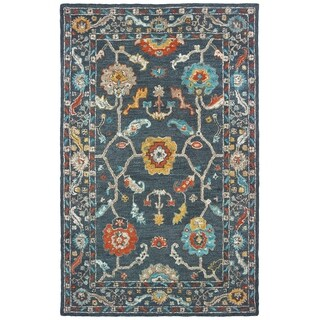 Floral Tribal Hand-tufted Wool Blue/ Gold Area Rug - 5' x 8'