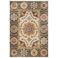 "Tribal Medallions Ivory/ Brown Area Rug - 5'3"" x 7'6"""