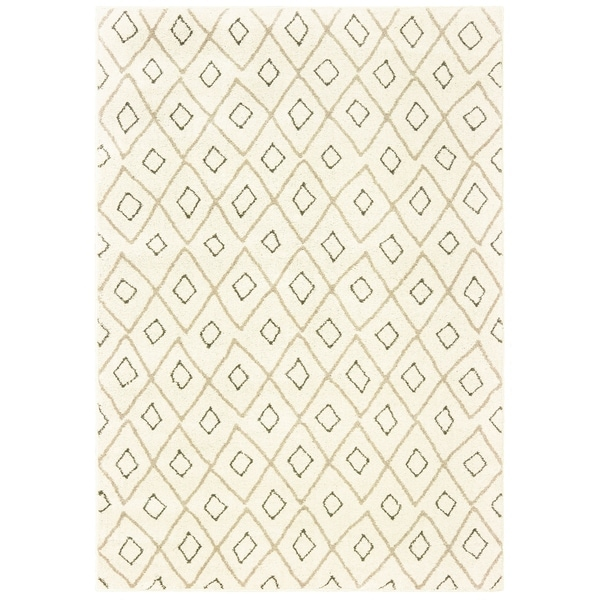 "Tribal Lattice Ivory/ Sand Area Rug - 5'3"" x 7'3"""