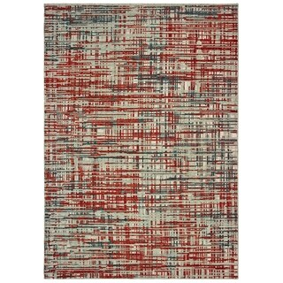 "Abstract Etchings Grey/ Red Area Rug - 6'7"" x 9'6"""