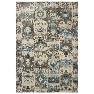 """The Curated Nomad Erie Tribal Panel Blue/ Brown Area Rug - 6'7"""" x 9'6"""""""