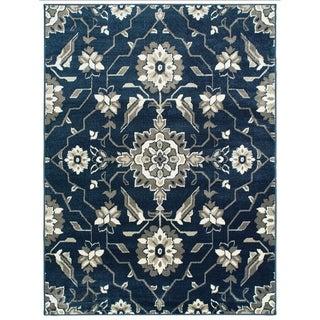 """Borderless Floral Medallion Blue/ Grey Area Rug - 5'3"""" x 7'"""