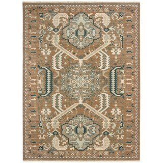 "Distressed Tribal Rust/ Teal Spaced Dyed Wool Area Rug - 6'7"" x 9'6"""
