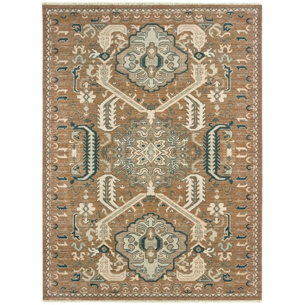 Distressed Tribal Rust/ Teal Spaced Dyed Wool Area Rug - 2' x 3'