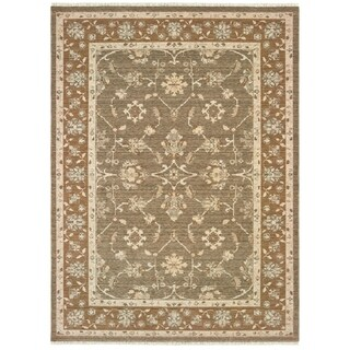 Updated Traditional Grey/Gold Spaced-dyed Wool Area Rug - 6'7 x 9'6