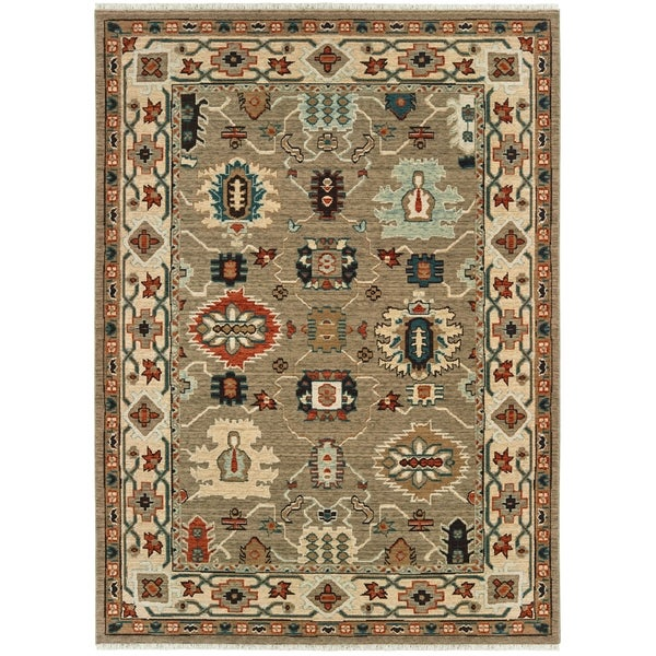 "Tribal Border Tan/ Ivory Spaced Dyed Wool Area Rug - 5'3"" x 7'6"""