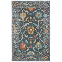 Floral Tribal Hand-tufted Wool Blue/ Gold Area Rug - 10' x 13'
