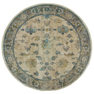 Faded Traditional Ivory/ Blue Rug - 7'10