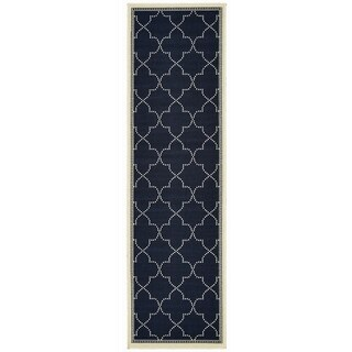 "Havenside Home Pelican Simple Lattice Navy/ Ivory Loop Pile Indoor/ Outdoor Area Rug - 2'3"" x 7'6"" Runner"
