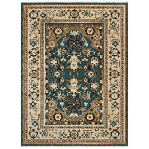 """Tribal Bordered Teal/ Sand Spaced Dyed Wool Area Rug - 9'10"""" x 12'10"""""""