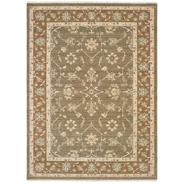 "Updated Traditional Grey/ Gold Spaced Dyed Wool Area Rug - 9'10"" x 12'10"""