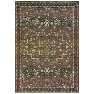"Distressed Medallion Grey/ Gold Area Rug - 7'10"" x 10'10"""