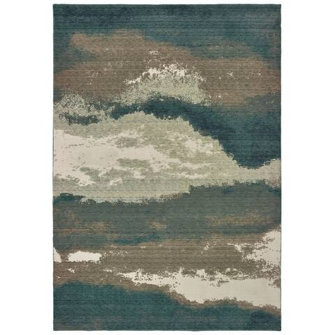 Strick & Bolton Moody Abstract Blue/ Ivory Area Rug - 7'10 x 10'10
