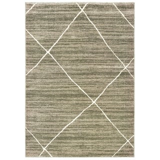 "Celestia Distressed Primitive Geometric Grey/ Ivory Area Rug - 7'10"" x 10'"