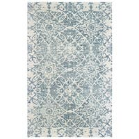 Faded Medallions Hand-tufted Wool Blue/ Ivory Area Rug - 10' x 13'