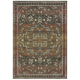 "Distressed Medallion Grey/ Gold Area Rug - 9'10"" x 12'10"""
