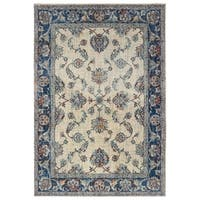 """Bordered Traditional Ivory/ Blue Area Rug - 9'10"""" X 12'10"""""""