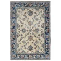 "Bordered Traditional Ivory/ Blue Area Rug - 9'10"" x 12'10"""