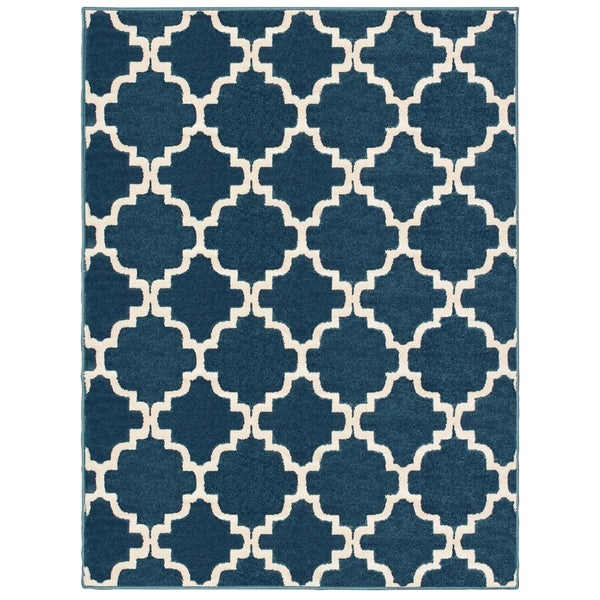 Shop Scallop Lattice Navy Ivory Area Rug 7 10 Quot X 10