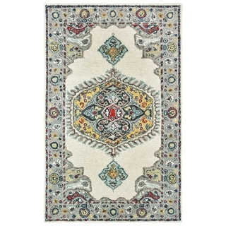 The Curated Nomad Fargo Traditional Medallion Hand-tufted Wool Ivory/ Grey Area Rug - 10' x 13'