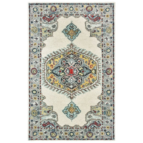 Shop Classical Kashan Medallion Hand Knotted Persian Wool: Shop Traditional Medallion Hand-tufted Wool Ivory/ Grey