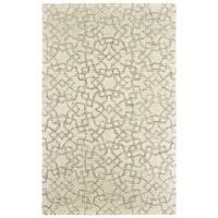 Faded Geometric Lattice Hand-tufted Wool Tan/ Ivory Area Rug - 10' x 13'