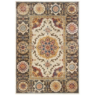 "Tribal Medallions Ivory/ Brown Area Rug - 7'10"" x 10'10"""